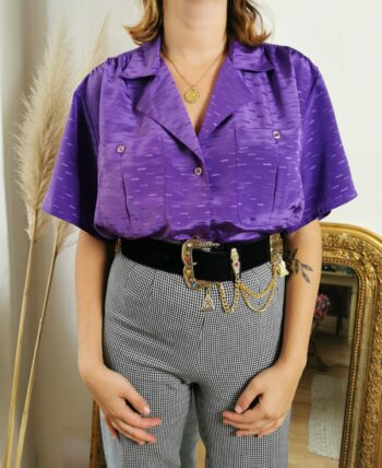 Beau chemisier violet 80s