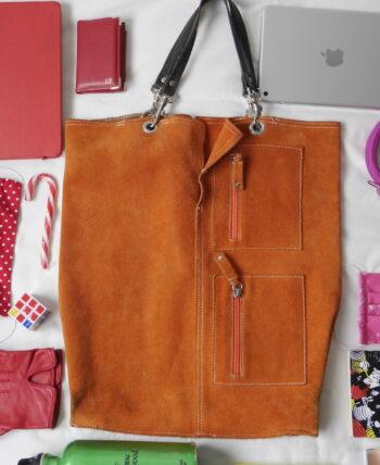 sac cuir orange vintage