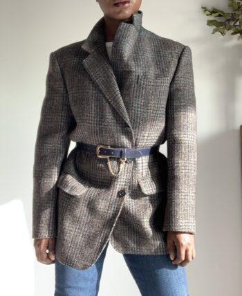Blazer Tweed Grey Veste Gray Oversized Jacket
