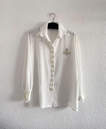 Chemise blanche broderie dorée marine