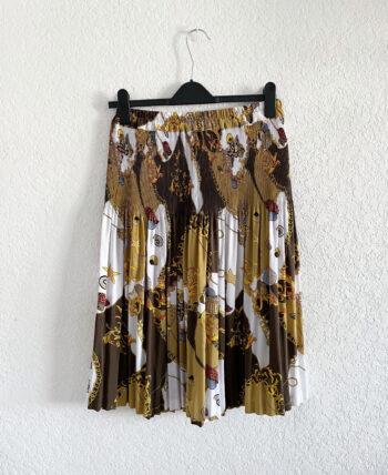 Jupe midi plissée motif foulard à taille élastique