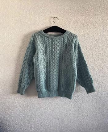 Pull irlandais en laine vierge épaisse bleu clair