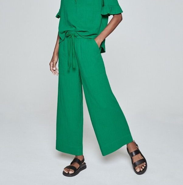 Pull-On Ankle-Grazer Cheesecloth Pant