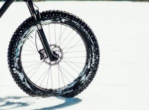mountain bike fat tires in the snow