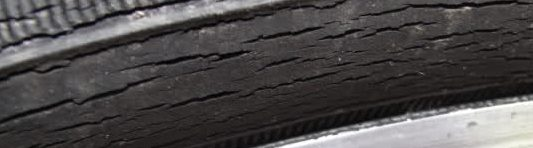 extensive cracks on the tire sidewall