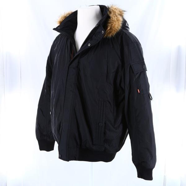 HAWKE & CO NWT $195 Black Faux Fur Trimmed Hooded Men's Jacket Coat Outerwear