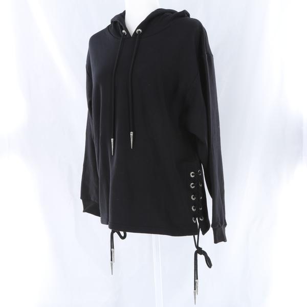 THE KOOPLES Black Sports Fleece & Lace Knit Sleeves Women's Hoodie Top - NWT
