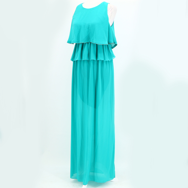 Exquisite TOY G NWT $230 Georgette Green Sleeveless Ruffle Women's Maxi Dress