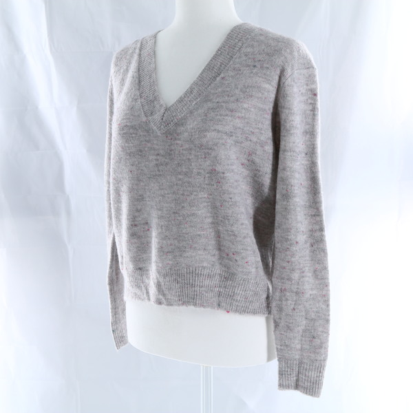 HIATUS Flecked Knit V-Neck Women's Sweater - Grey - Style JT9KP5HDR