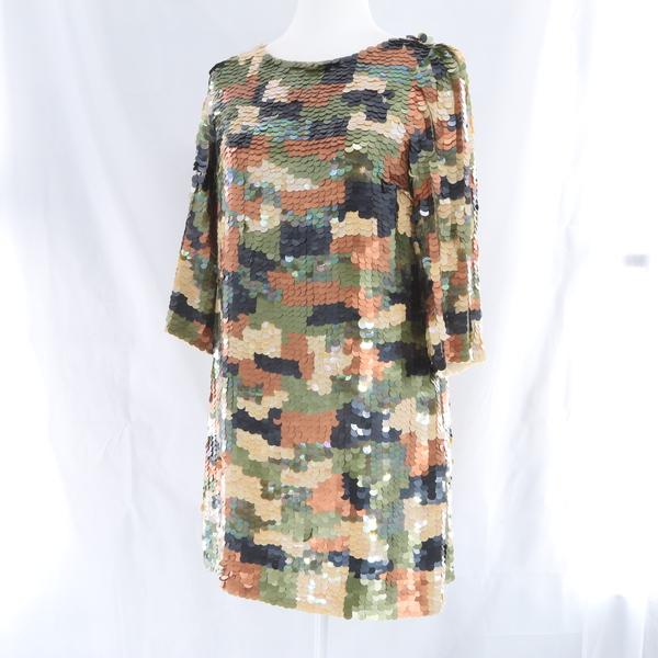 L'AUTRE CHOSE $435 Green Khaki Sequin Shiny Women's T-shirt Shift Dress - NWT