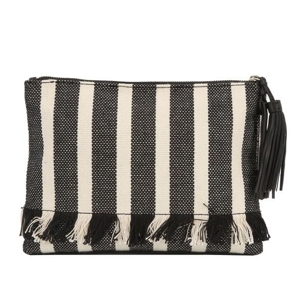 Loeffler Randall TSLPOUCH-WV $1460 Women's Woven Striped Tassel Pouch - NWT
