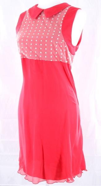 ALEX VIDAL NWT $550 Pink White Polka Dot Collar Women's Dress