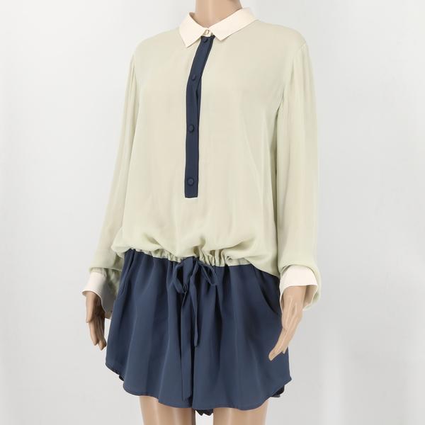 MASON NWT $1250 Multicolor Shirt Blouse Top & Shorts Bottom Women's Jumpsuit