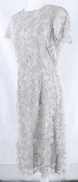 Limited Unique MALAICA Light Gray Floral Lace Women's Midi Dress - NWT $640