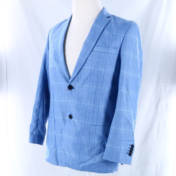 ISAAC MIZRAHI NWT $60 Cobalt Blue Plaid 1-Piece Toddlers Boys Suit Blazer Jacket