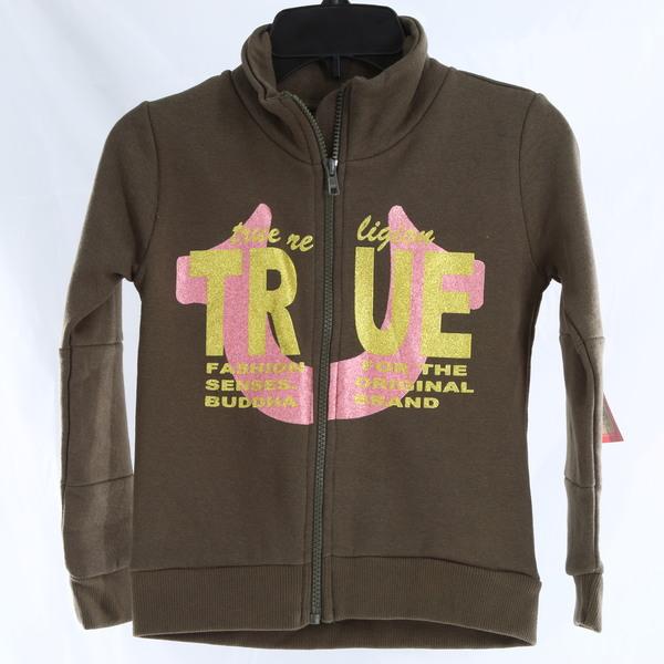TRUE RELIGION NWT $79 Logo Print Brown Active Fleece Little Girls Sweater Jacket