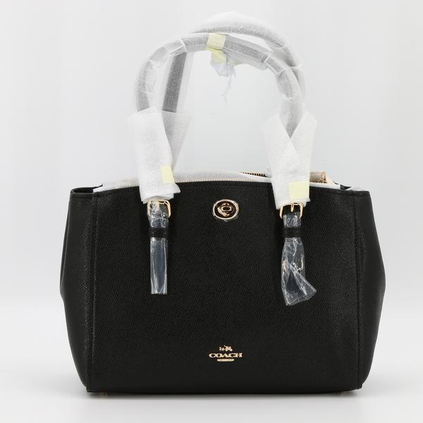 COACH 55680 TURNLOCK 26 NWT $295 Women's Black Grain Leather Crossbody Purse Bag