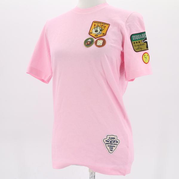 DSQUARED2 NWT $211 Casual Multicolor Appliqué Patch Women's Tee T-Shirt Top