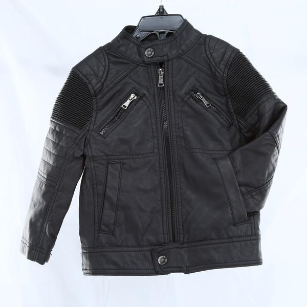URBAN REPUBLIC NWT $80 Faux Leather Ribbed Boys Jacket - Black