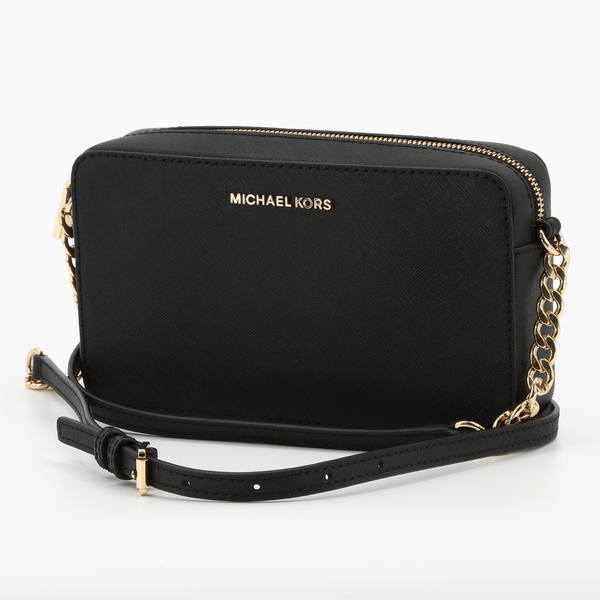 MICHAEL KORS JET SET East West Black Leather Medium Chain Crossbody Bag