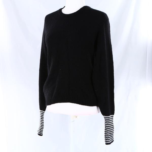 AKEP NWT $145$ Black & White Striped Sleeves Blend Wool Women's Sweater Top