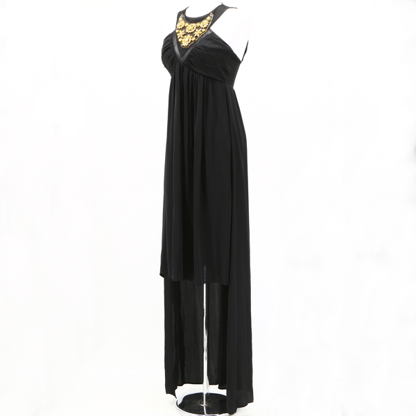 ANNARITA N NWT $450 Black Gold Sleeveless Halter Neck Hi-Low Women's Maxi Dress