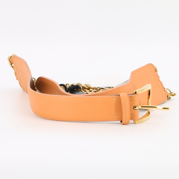 JUST CAVALLI NWT $300 Women's Small Metal Leather Belt in Orange - S11 TP0114
