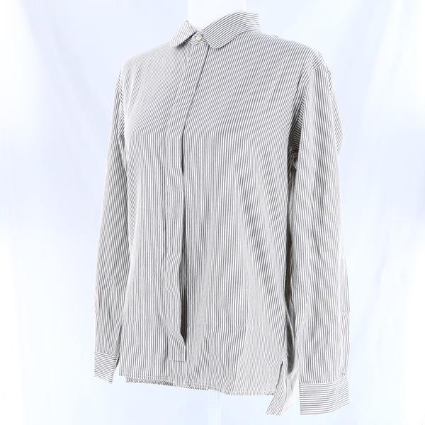 COSMIC WONDER NWT $140 Gray Logwood Striped Collared Women's Oxford Shirt Top