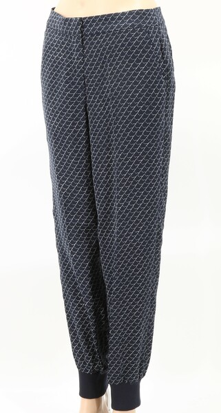 ARMANI EXCHANGE NWT $130 Blue Printed Knit Cuff Women's Jogger Trousers Pants