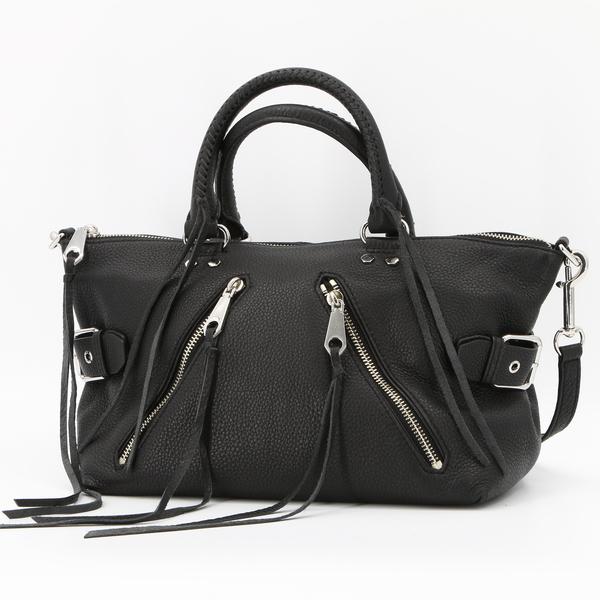 Rebecca Minkoff $338 Black Leather Moto Satchel Tote Handbag HS16EMOS26 - NWT
