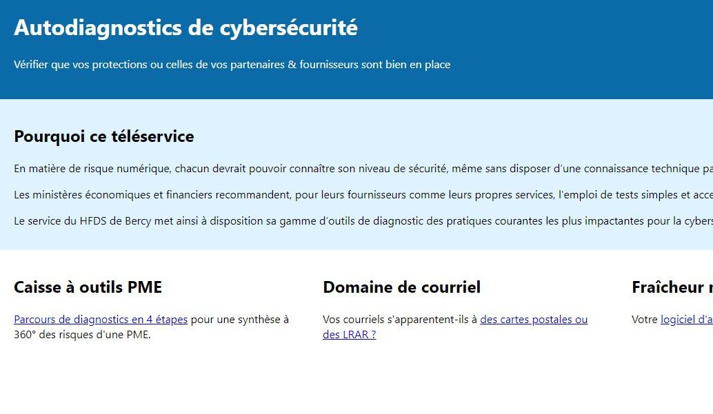 Autodiagnostics de cybersécurité