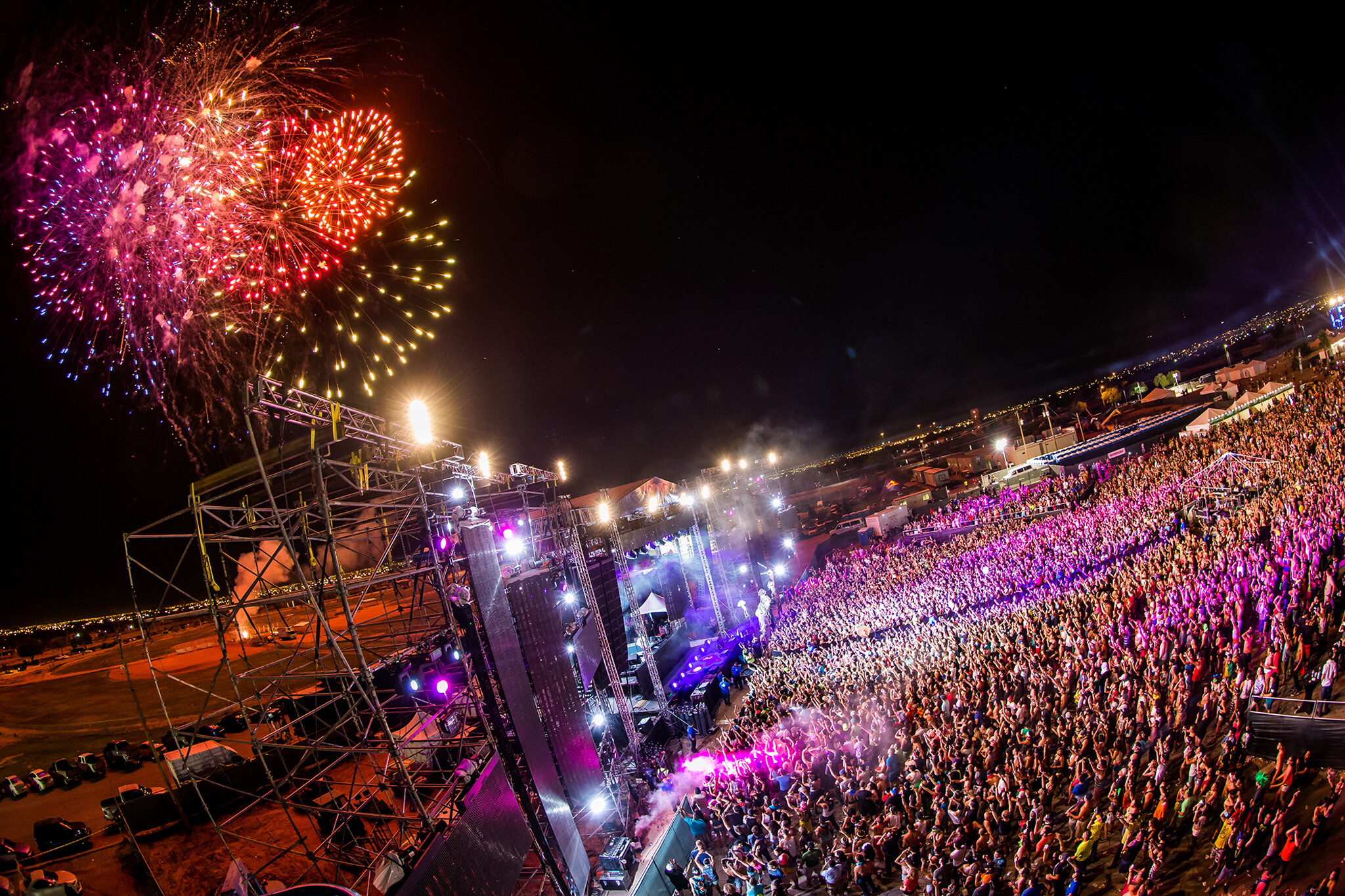 Fireworks over main stage at Sun City Music Festival 2014