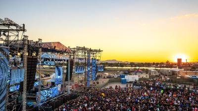 Sunset over main stage at Sun City Music Festival 2014