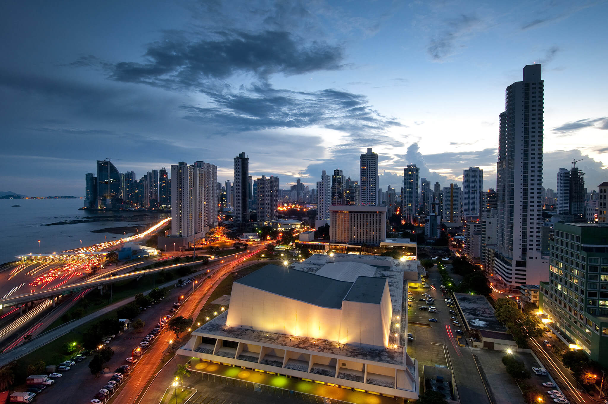 Panama City, city center skyline and Bay of Panama, Panama, Central America