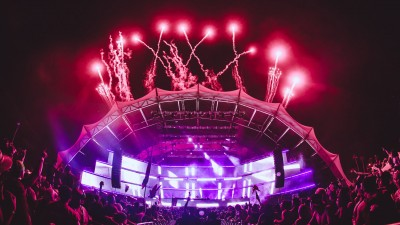 Fireworks over main stage during Sunset Music Festival 2016