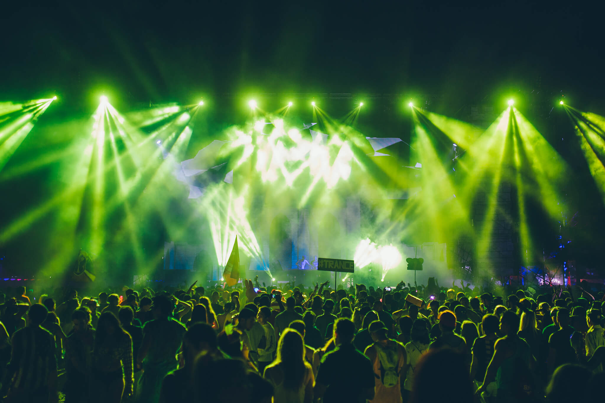green lights on crowd at something wicked music festival