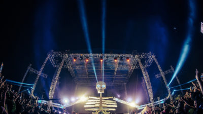 skeleton stage with lasers at something wicked festival