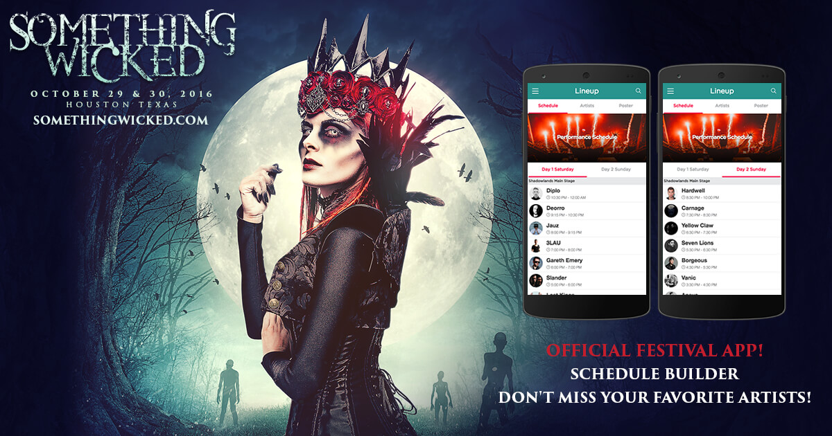 build your own artist schedule in the something wicked mobile app
