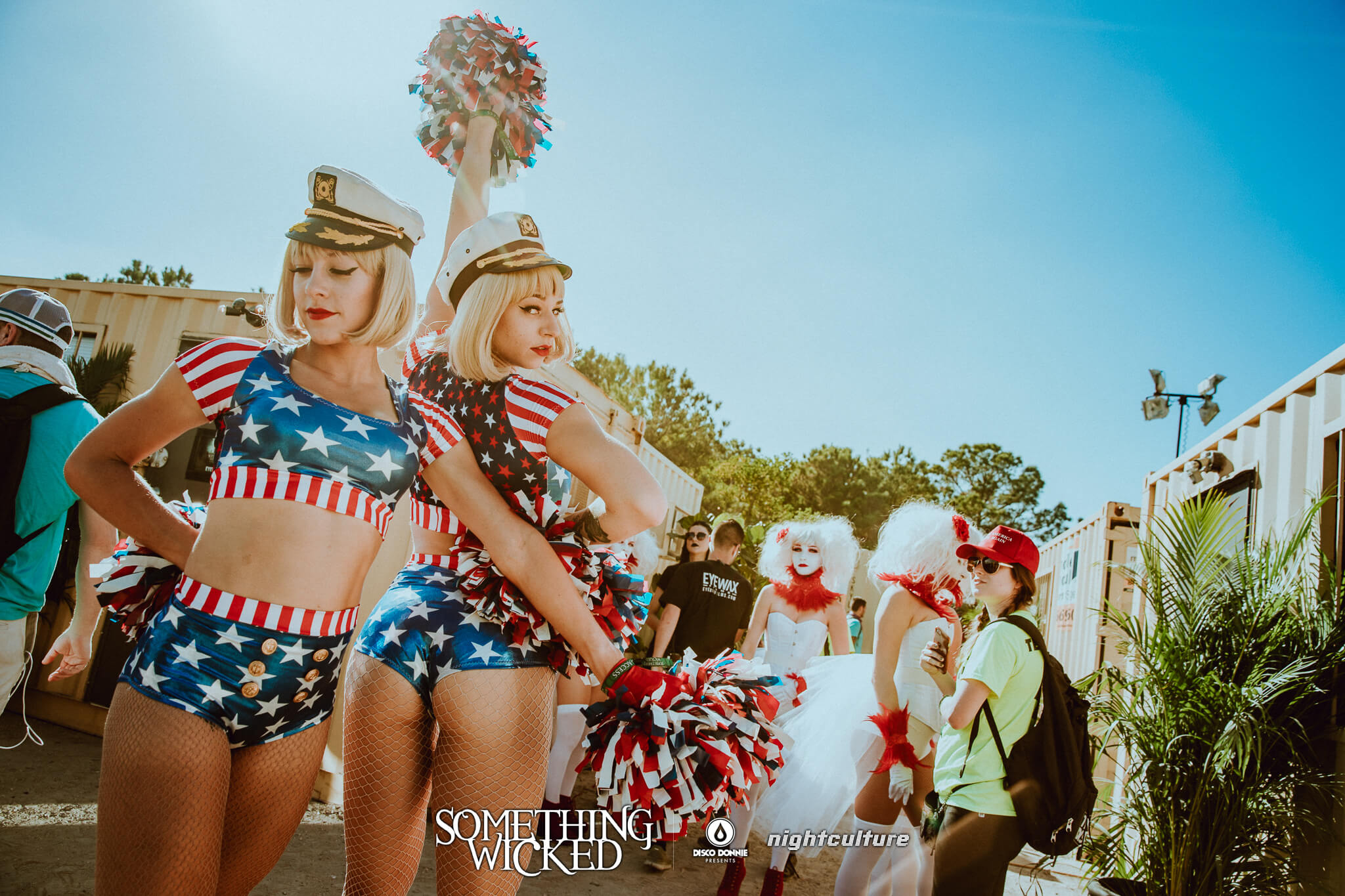 red white and blue dancers make america rave again at something wicked festival