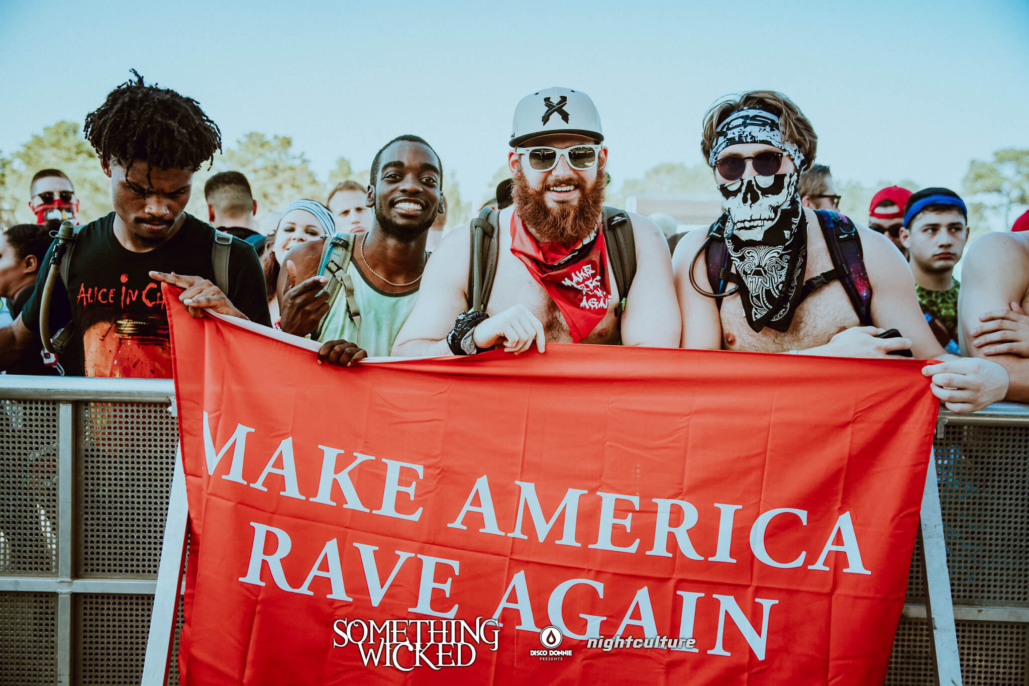 make america rave again flag at something wicked festival