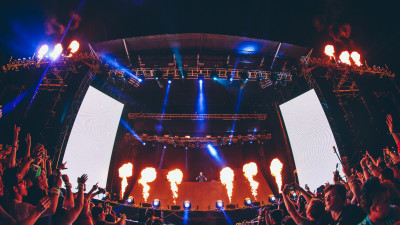 Martin Garrix performing on main stage at Something Wicked 2014