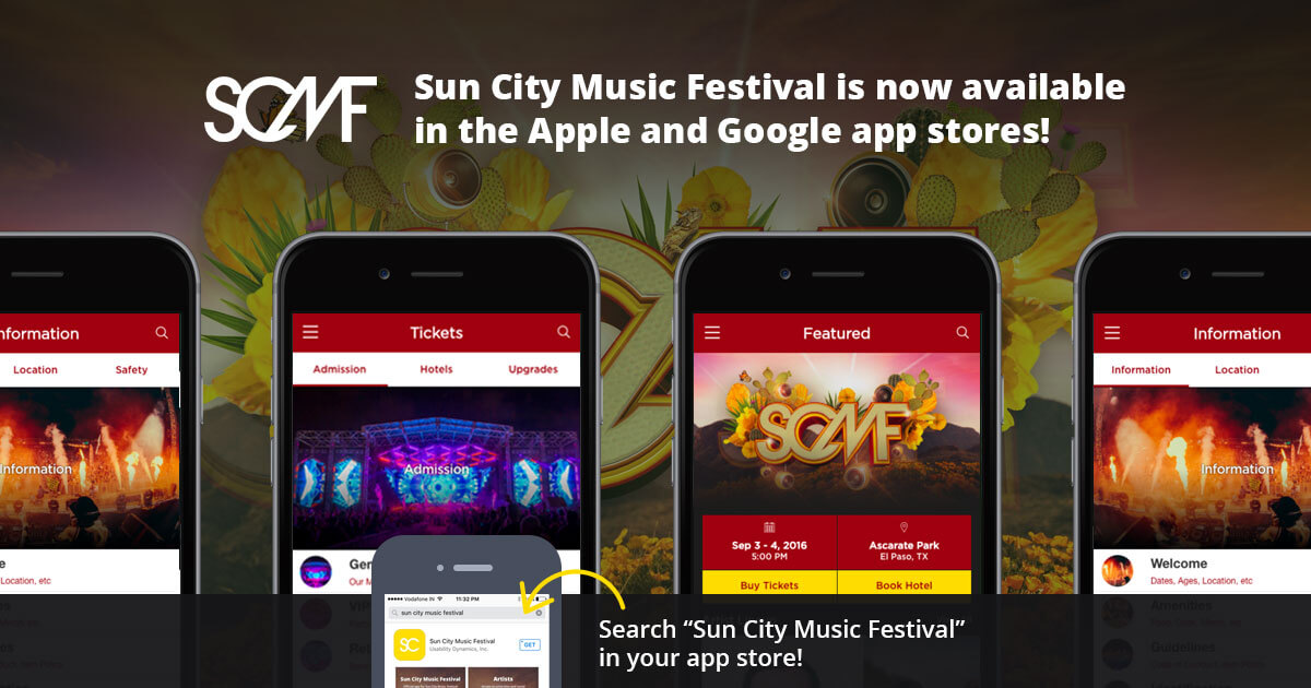 Sun City Music Festival is now available in the Apple and Google app stores!