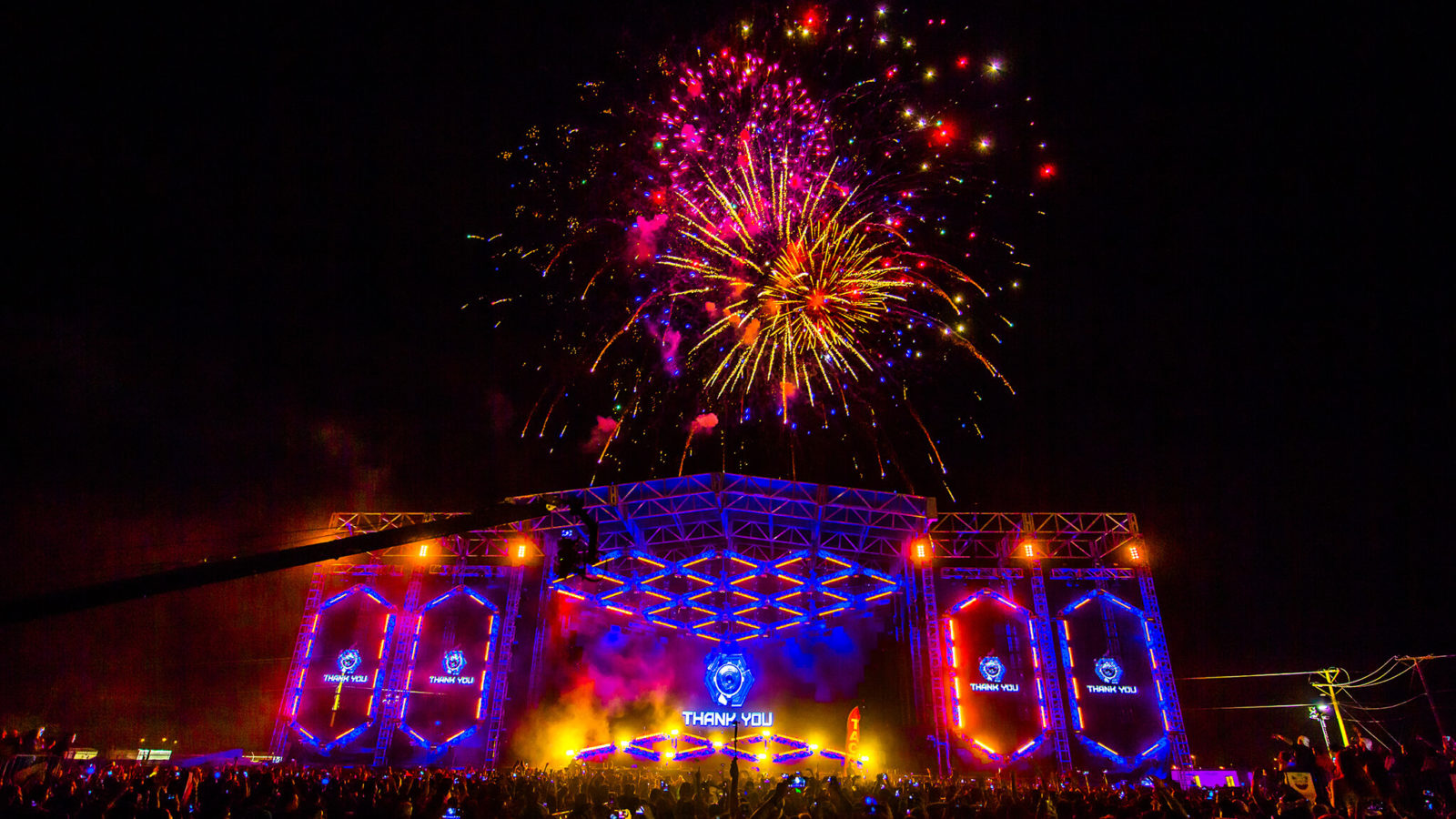 Fireworks over main stage at Sun City Music Festival 2015