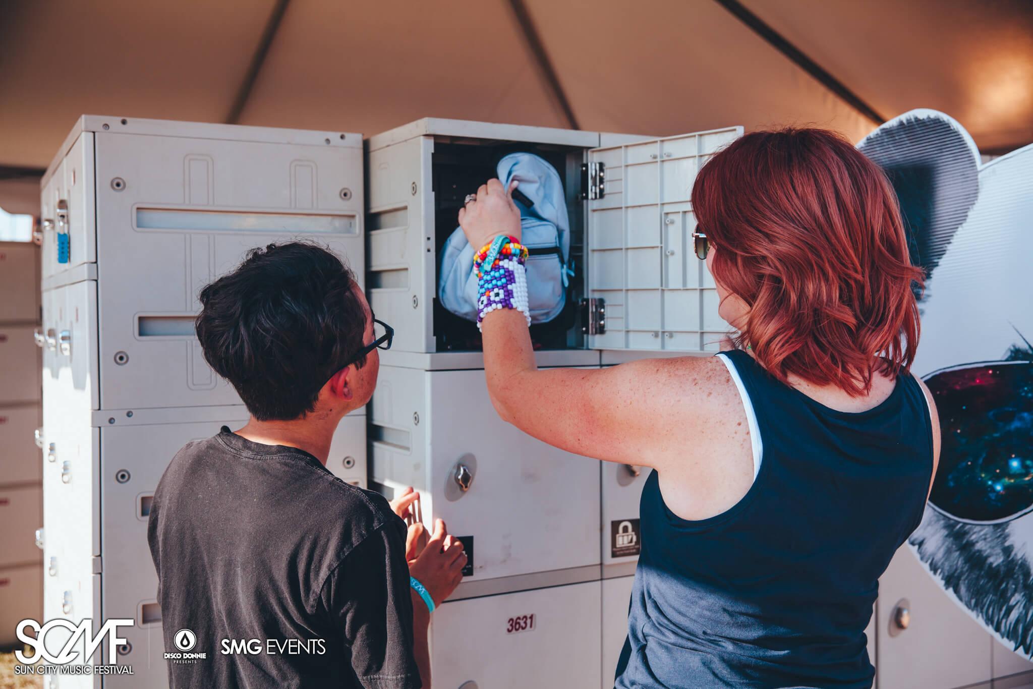 Locker storage at Sun City Music Festival 2015. Photo by Julian Bajsel.