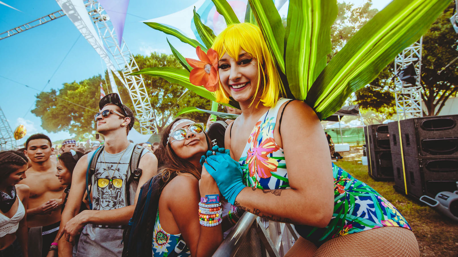 Costumed performer and fans at Sunset Music Festival 2016