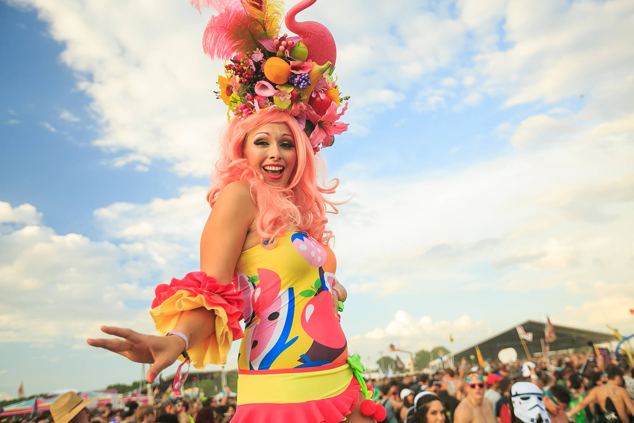 vibrant stage performer at sunset music festival