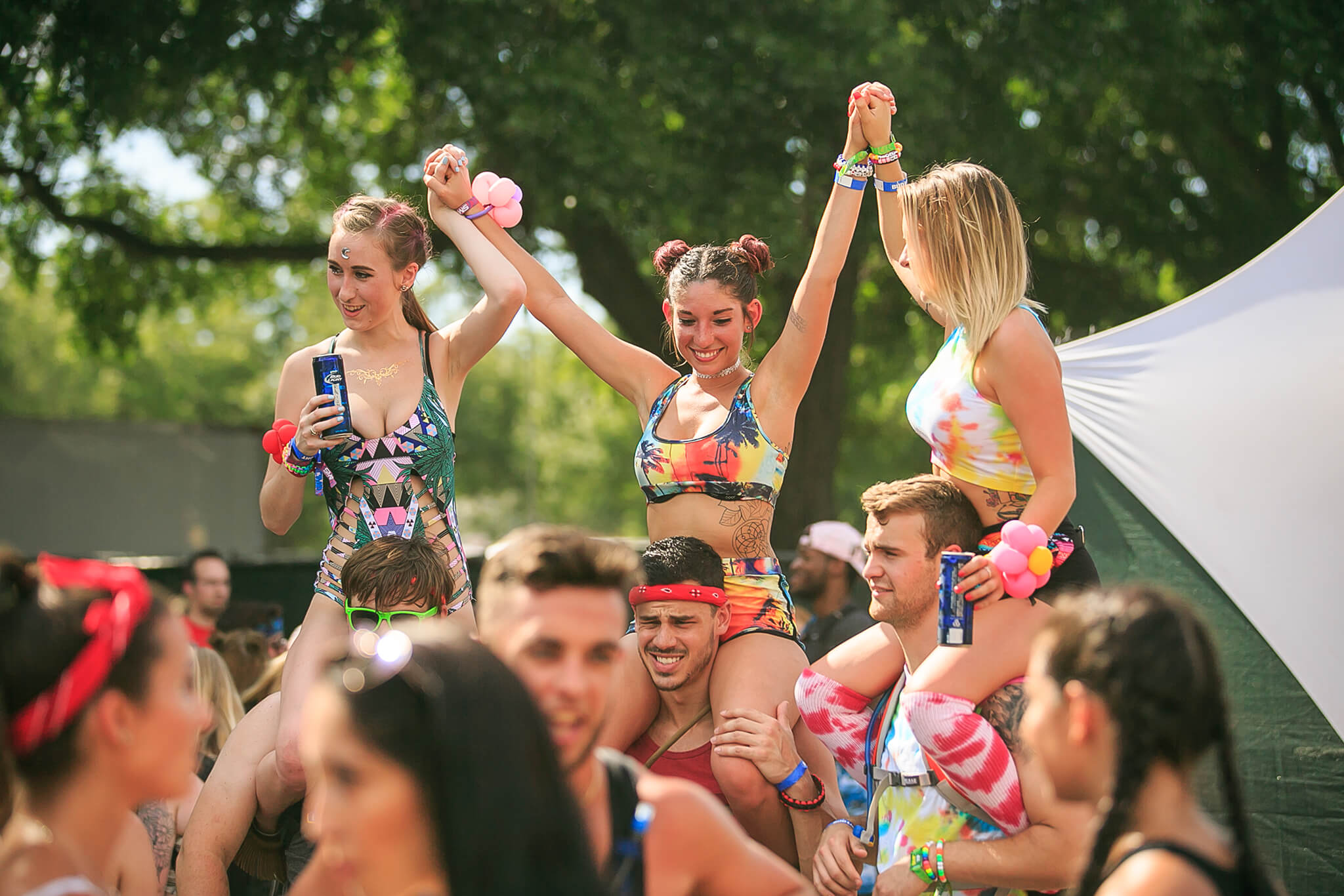 festive fans at sunset music festival