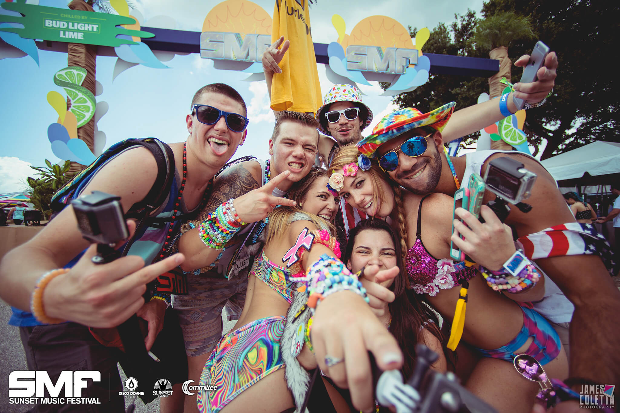 group of friends squad out at sunset music festival
