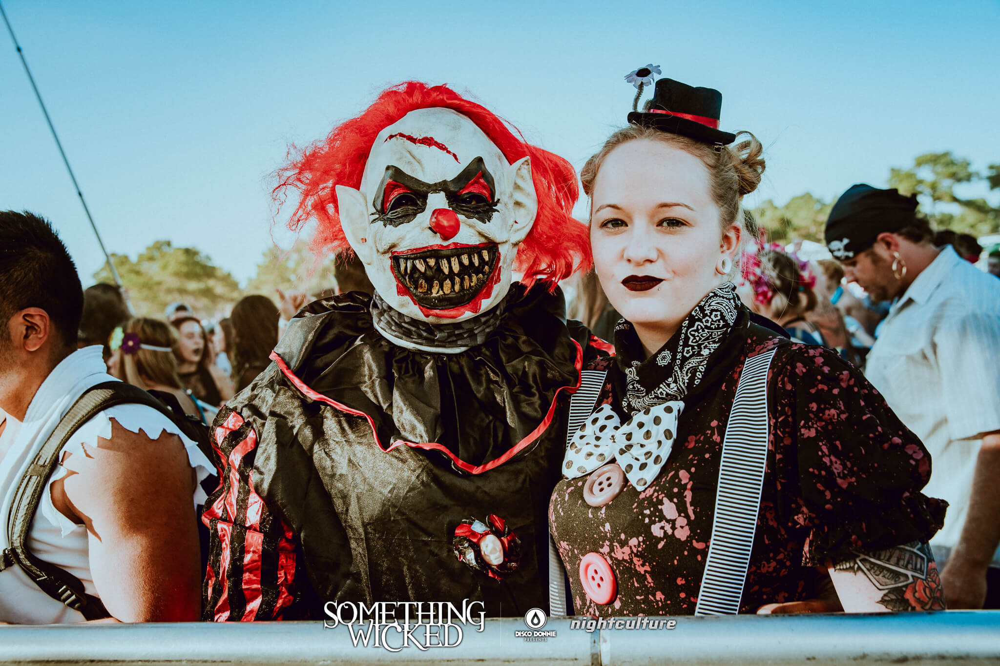 scary clown and mistress costumes