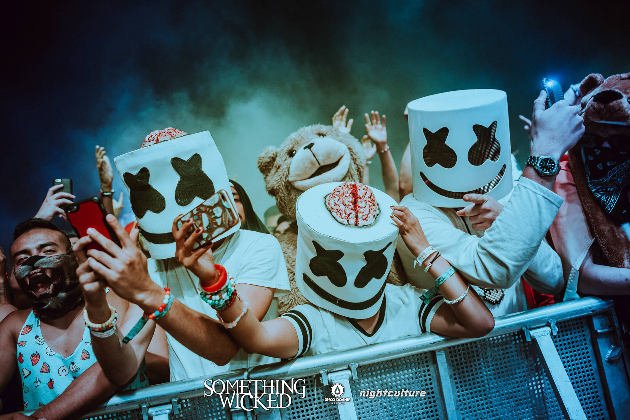 marshmello fans in costume front row
